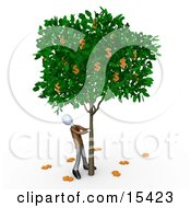 Greedy Businessman Shaking Money Off Of A Tree That Grows Dollars