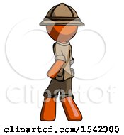 Orange Explorer Ranger Man Walking Away Direction Left View