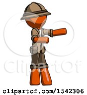 Orange Explorer Ranger Man Presenting Something To His Left