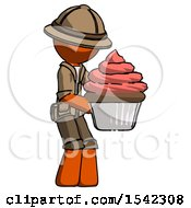 Orange Explorer Ranger Man Holding Large Cupcake Ready To Eat Or Serve