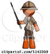 Orange Explorer Ranger Man Standing Up With Ninja Sword Katana