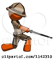 Orange Explorer Ranger Man With Ninja Sword Katana Slicing Or Striking Something