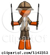 Orange Explorer Ranger Man Posing With Two Ninja Sword Katanas Up