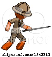 Orange Explorer Ranger Man Stabbing With Ninja Sword Katana