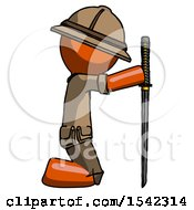 Orange Explorer Ranger Man Kneeling With Ninja Sword Katana Showing Respect