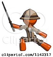 Orange Explorer Ranger Man With Ninja Sword Katana In Defense Pose