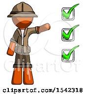 Orange Explorer Ranger Man Standing By List Of Checkmarks