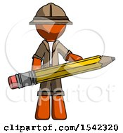 Orange Explorer Ranger Man Writer Or Blogger Holding Large Pencil