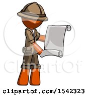 Orange Explorer Ranger Man Holding Blueprints Or Scroll