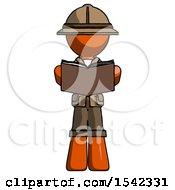 Orange Explorer Ranger Man Reading Book While Standing Up Facing Viewer