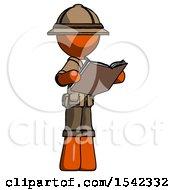 Orange Explorer Ranger Man Reading Book While Standing Up Facing Away