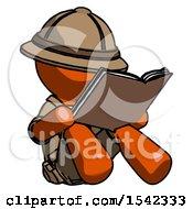 Orange Explorer Ranger Man Reading Book While Sitting Down