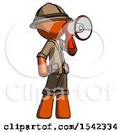 Orange Explorer Ranger Man Shouting Into Megaphone Bullhorn Facing Right