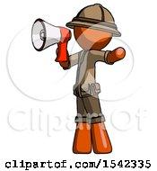 Orange Explorer Ranger Man Shouting Into Megaphone Bullhorn Facing Left