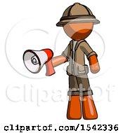Orange Explorer Ranger Man Holding Megaphone Bullhorn Facing Right