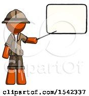 Orange Explorer Ranger Man Giving Presentation In Front Of Dry Erase Board