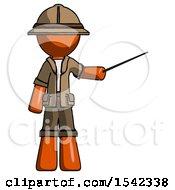 Orange Explorer Ranger Man Teacher Or Conductor With Stick Or Baton Directing