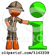 Orange Explorer Ranger Man With Info Symbol Leaning Up Against It