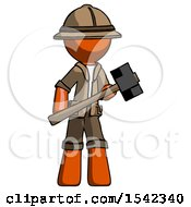 Orange Explorer Ranger Man With Sledgehammer Standing Ready To Work Or Defend
