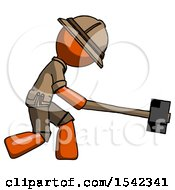 Orange Explorer Ranger Man Hitting With Sledgehammer Or Smashing Something