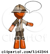 Orange Explorer Ranger Man With Word Bubble Talking Chat Icon