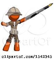 Orange Explorer Ranger Man Pen Is Mightier Than The Sword Calligraphy Pose