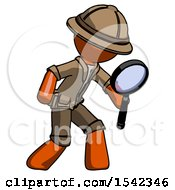 Orange Explorer Ranger Man Inspecting With Large Magnifying Glass Right