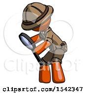 Orange Explorer Ranger Man Inspecting With Large Magnifying Glass Left