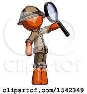 Orange Explorer Ranger Man Inspecting With Large Magnifying Glass Facing Up