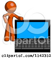 Orange Design Mascot Man Beside Large Laptop Computer Leaning Against It