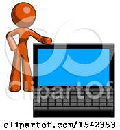 Orange Design Mascot Woman Beside Large Laptop Computer Leaning Against It