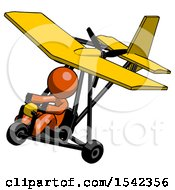 Orange Design Mascot Man In Ultralight Aircraft Top Side View