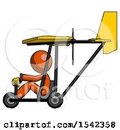 Orange Design Mascot Man In Ultralight Aircraft Side View