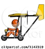 Orange Design Mascot Woman In Ultralight Aircraft Side View