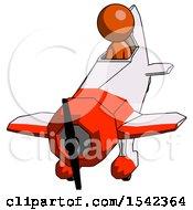 Orange Design Mascot Man In Geebee Stunt Plane Descending Front Angle View