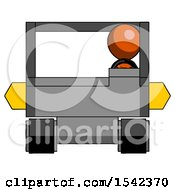 Orange Design Mascot Man Driving Amphibious Tracked Vehicle Front View