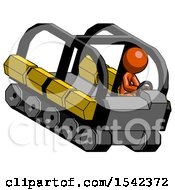 Orange Design Mascot Man Driving Amphibious Tracked Vehicle Top Angle View