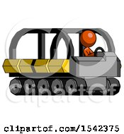 Orange Design Mascot Woman Driving Amphibious Tracked Vehicle Side Angle View