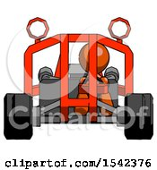 Orange Design Mascot Man Riding Sports Buggy Front View