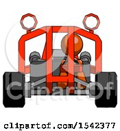 Orange Design Mascot Woman Riding Sports Buggy Front View