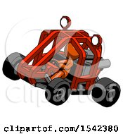 Orange Design Mascot Man Riding Sports Buggy Side Top Angle View