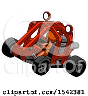 Orange Design Mascot Woman Riding Sports Buggy Side Top Angle View