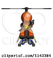 Orange Design Mascot Man Flying In Gyrocopter Front View