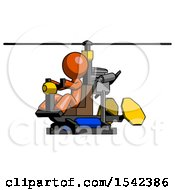 Orange Design Mascot Man Flying In Gyrocopter Front Side Angle View