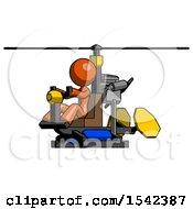 Orange Design Mascot Woman Flying In Gyrocopter Front Side Angle View
