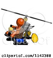 Orange Design Mascot Man Flying In Gyrocopter Front Side Angle Top View