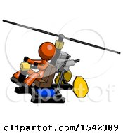 Orange Design Mascot Woman Flying In Gyrocopter Front Side Angle Top View
