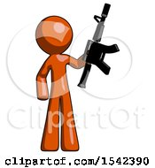 Orange Design Mascot Man Holding Automatic Gun
