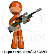 Orange Design Mascot Man Holding Sniper Rifle Gun