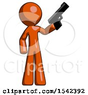 Orange Design Mascot Man Holding Handgun